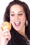 Holding apple Stock Photo