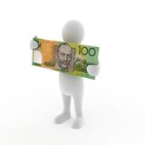 Holding Australian Money. A 3D render of a character holding an Australian $100 note Stock Image