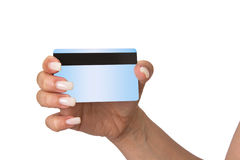 Holding Bank Card or ATM Card or credit card or debit card Stock Image