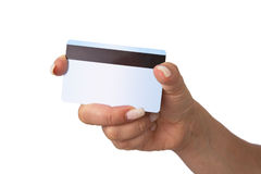 Holding Bank Card or ATM Card or credit card or debit card Stock Photography