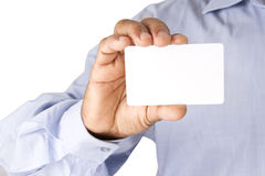 Holding Bank white Card similar to ATM Card or credit card or de Stock Image