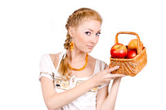 Holding basket of apples Stock Images