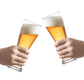 Holding a beer glasses Royalty Free Stock Photography
