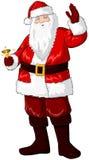 Holding Bell e fluttuare del Babbo Natale per il natale Fotografie Stock Libere da Diritti