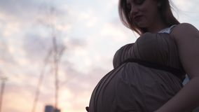 Holding belly close up - Young pregnant woman is happy in her travel destination country Latvia with a view over city. Young pregnant woman is happy in her stock video footage