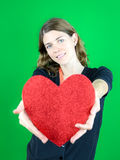 Holding a  Big Heart Royalty Free Stock Photography