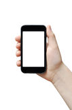 Holding big smart phone. Holding big touchscreen smart phone, right palm, clipping path Stock Images