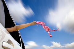 Holding bikini in the air enjoy summertime Stock Images