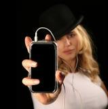 Holding bionda MP3 della donna Fotografia Stock