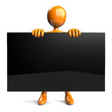 Holding black board Royalty Free Stock Image