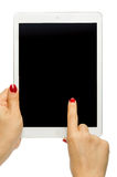 Holding black screen iPad air Stock Photos