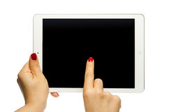 Holding black screen iPad air Stock Image