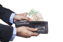 Holding Black Wallet Stock Photos