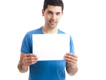 Holding a blank billboard Stock Photo