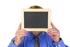 Holding a blank Blackboard Royalty Free Stock Photo
