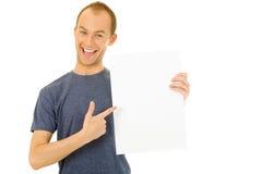 Holding a blank board Stock Photos