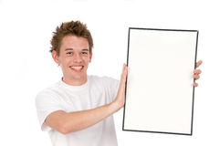 Holding a blank board Stock Photography