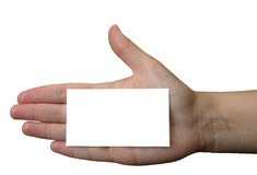 Holding blank business card #2.  royalty free stock image