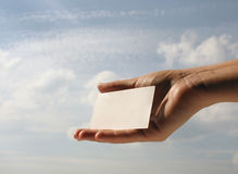 Holding blank business card #7 stock photography