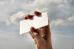 Holding blank business card #8.  stock photos