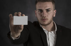 Holding Blank Businesscard Royalty Free Stock Photography