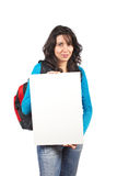 Holding the blank card Stock Photo