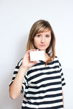 Holding a blank card Stock Image
