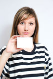 Holding a blank card Stock Photography