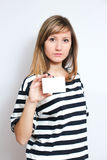 Holding a blank card Royalty Free Stock Photo