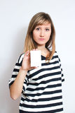 Holding a blank card Royalty Free Stock Photography