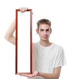 Holding Blank Long Frame Royalty Free Stock Image
