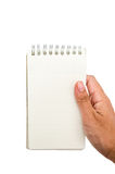 Holding a blank note Stock Photo
