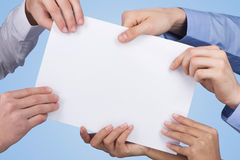 Holding blank paper Royalty Free Stock Images