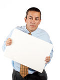 Holding the blank poster Stock Images