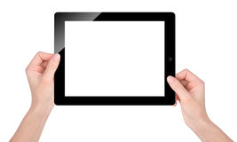 Holding Blank Tablet Screen on White Stock Photo