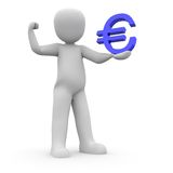 Holding blue euro 2 Royalty Free Stock Photo