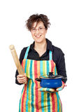 Holding a blue pan and wooden royalty free stock photo