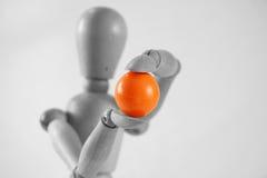 Holding boscosa una sfera arancione Fotografie Stock Libere da Diritti