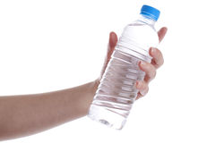 Holding bottle of water Royalty Free Stock Image