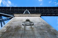 Holding the bridge stock image