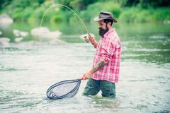 Holding brown trout. Man with fishing rods on river berth. Men fishing in river during summer day. Fly fisherman using royalty free stock photos