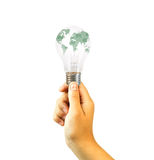 Holding a bulb with the world. On it,mail concept Stock Photos