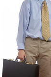 Holding a business briefcase Royalty Free Stock Images