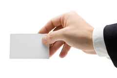 Holding a business card Stock Photo