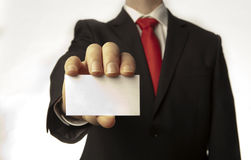 Holding business card Stock Photos