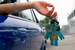 Holding car key Stock Photo