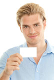 Holding a card Stock Photos