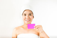 Holding card Royalty Free Stock Photo