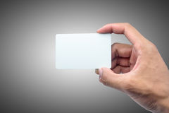 Holding card with empty space. Stock Photo