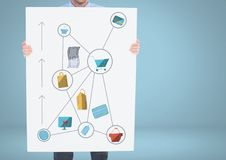 holding card with shopping icons graphics drawings Royalty Free Stock Images
